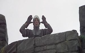 A still of the French taunting King Arthur from Monty Python and the Holy Grail