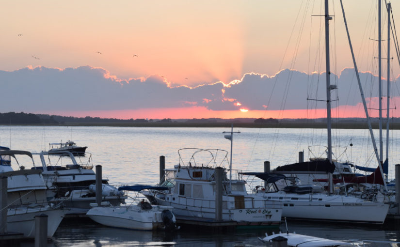 A photo of a sunset at the marina in Folly Beach, SC