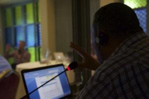 A photo of the translator translating live