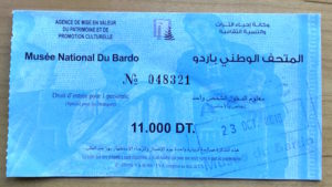 A photo of my entrance pass to the Bardo Museum